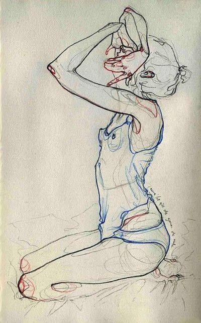 Crayons gras et eddings couleurs/papier lin blanc de Adara Sánchez Anguiano, 2012 Très 'schielien'...