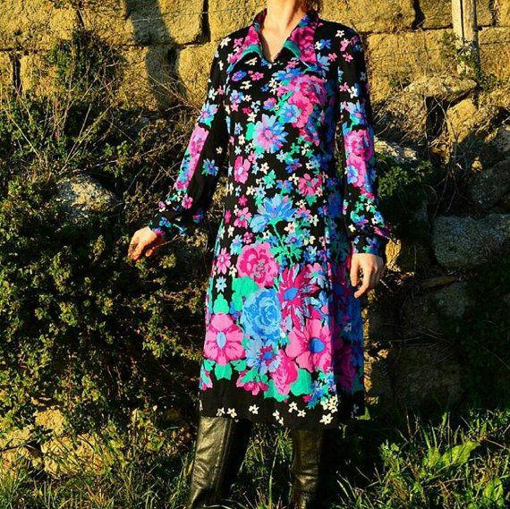 Vintage 60's / 70 's Haute Couture Silk Dress door LadyKateRoses
