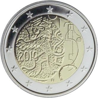 In 2010, Finland released this 2-euro coin celebrating 150 years of Finnish currency (featuring the Finnish lion).