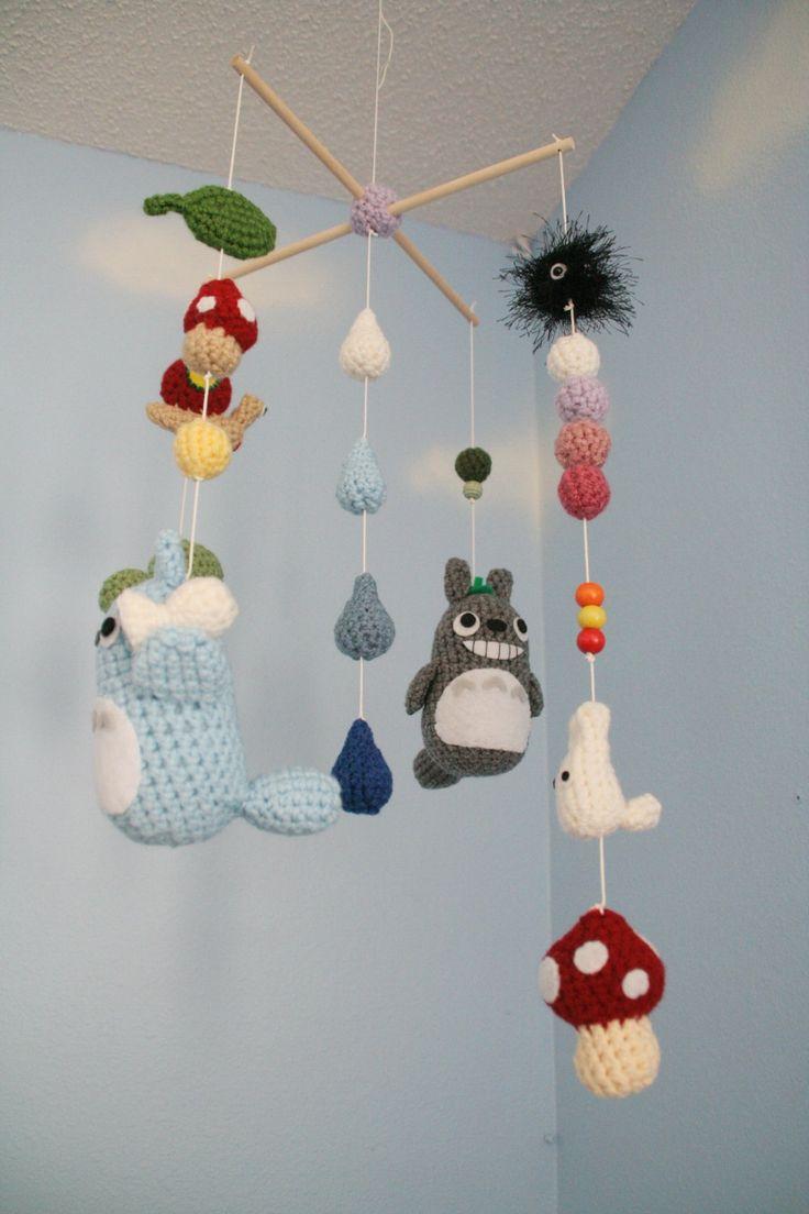 Crochet Totoro Nursery Mobile make totoros, soot sprites, mushrooms, leaves, and acorns