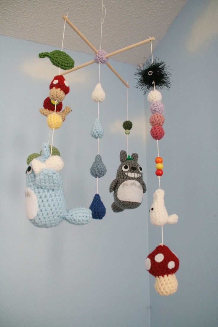crochet totoro nursery mobile made to order customizable. Black Bedroom Furniture Sets. Home Design Ideas