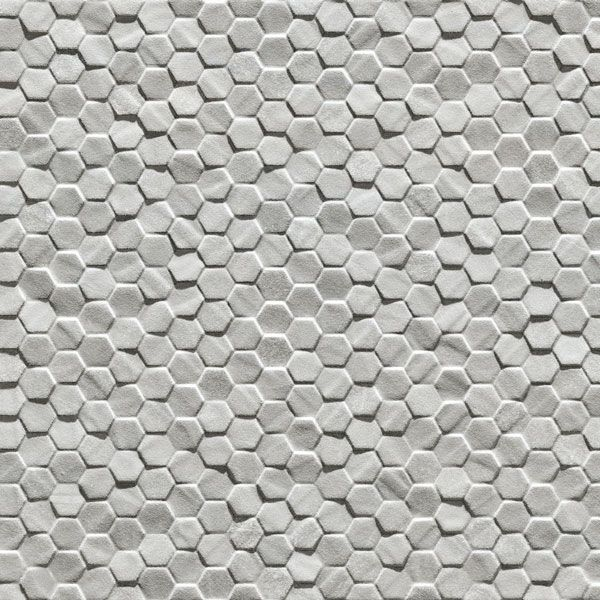 Classic Ceramics » Esagonetta Grigio Grey Porcelain Textured Hexagonal Tile #hex #hexagonal #textured #structured #outdoor #wall #feature #3D #white #grey #patterned #porcelain