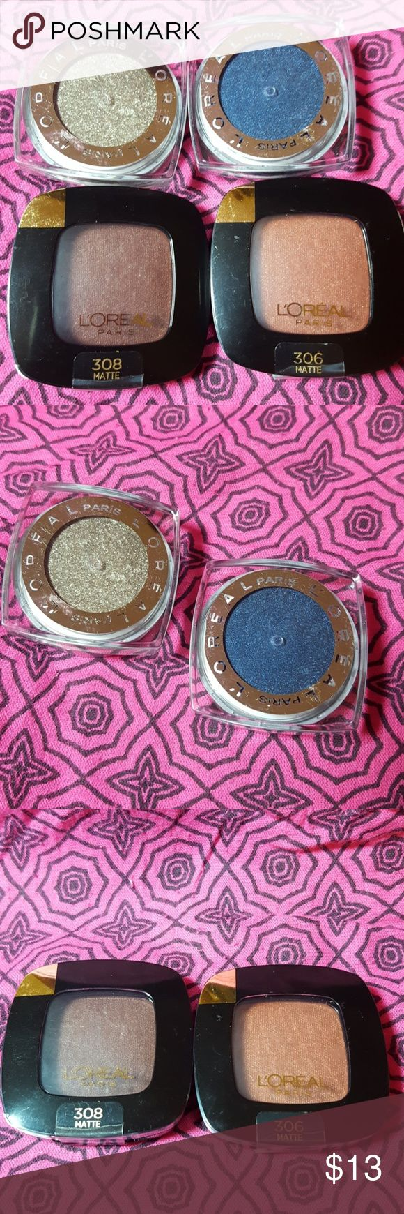 Lot of 4 L'oreal Eyeshadows Lot of 4 L'oreal Eyeshadows. Colour Riche Matte-Ison Garden, Colour Riche Acro-Matte, Infallible Gilded Envy, And Infallible Midnight Blue. L'Oreal Makeup Eyeshadow
