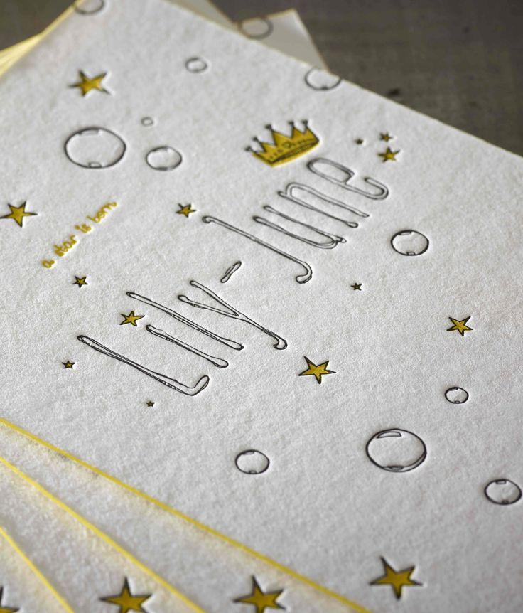 Birth Announcement Card Lily-June - Design by Jelle Van den Eeden - Proudly printed in Belgium by www.letterpressgust.com  #birth #letterpress #edgecoloring #drukkerijdirix