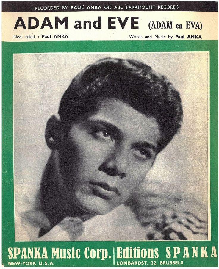 PAUL ANKA - ADAM AND EVE - 1959 - ORIG MUSIKNOTE
