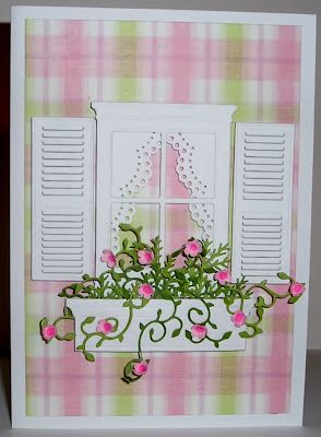 Window flower box card I made. It won at The Paper Shelter!