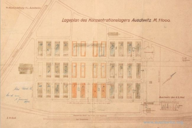 Plan of the Auschwitz concentration camp from March 11, 1941. (Auschwitz Memorial Archive)