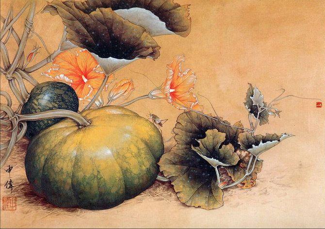 Гохуа (китайская традиционная живопись тушью и водяными красками на шелке или бумаге). Современный китайский художник Shen Wei