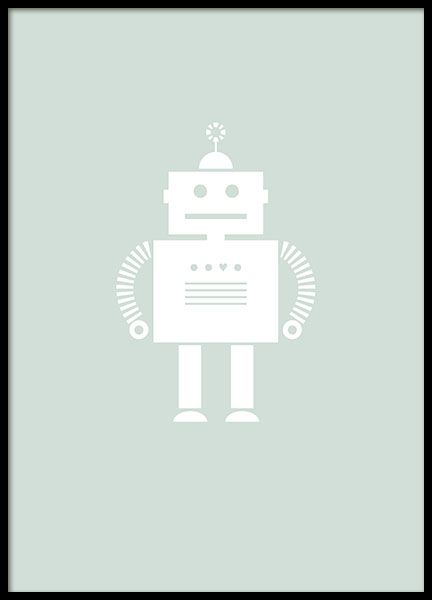 A lovely poster with an illustration of a cute robot on a green background. A print suitable for the kid's room as well as other rooms. Mix with other designs and maybe a typography print to create an interesting collage. www.desenio.com