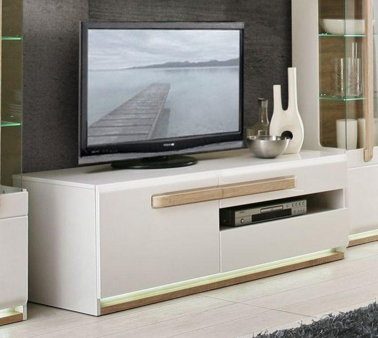 Tv Unterschrank Weiss Glanz Und Sonoma Eiche Woody 77 00777 Modern Jetzt Bestellen Unter Moebelladendirektde Wohnzimmer Hifi Moebel