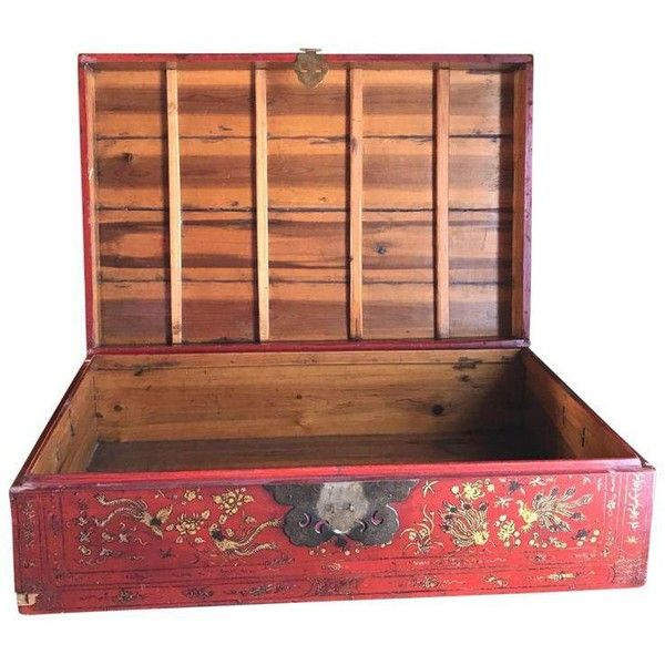 Red Asian Trunk, Vintage Wood Storage Box, Golden Roosters ($545) ❤ liked on Polyvore featuring home, home decor, small item storage, luggage, red storage boxes, red home decor, luggage trunk, vintage wood trunk and oriental home decor