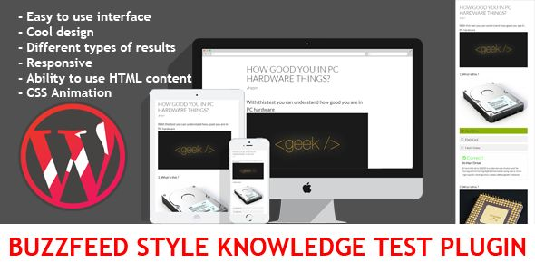 Wordpress BuzzFeed Style Knowledge Test Plugin . If you found bug or need to extend functionality or add new feature – just write it in comments and duplicate it via private message ( http://codecanyon.net/user/evgendob ).
