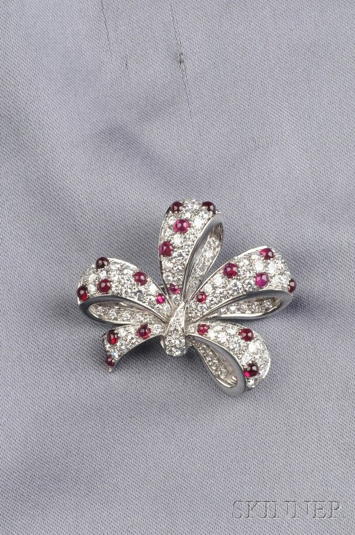 Platinum, Ruby, and Diamond Bow Brooch, Tiffany & Co.
