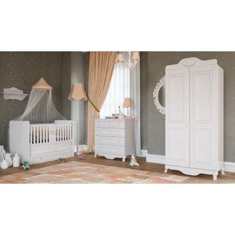 Babi Baby Eylül Mini Bebek Odası Takımı.  2 Kapaklı gardırop.   70 x 130 beşik.  Şifonyer.