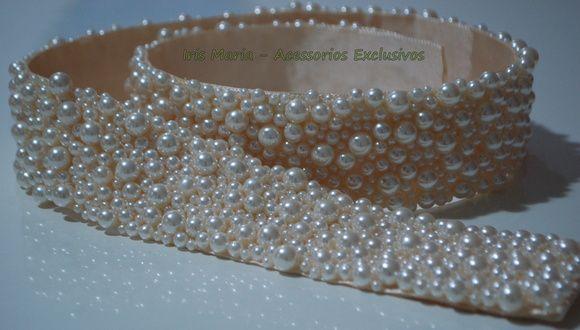 Cinto Bordado de Pérolas - 5 cm | Iris Maria - Bordados Exclusivos | Elo7