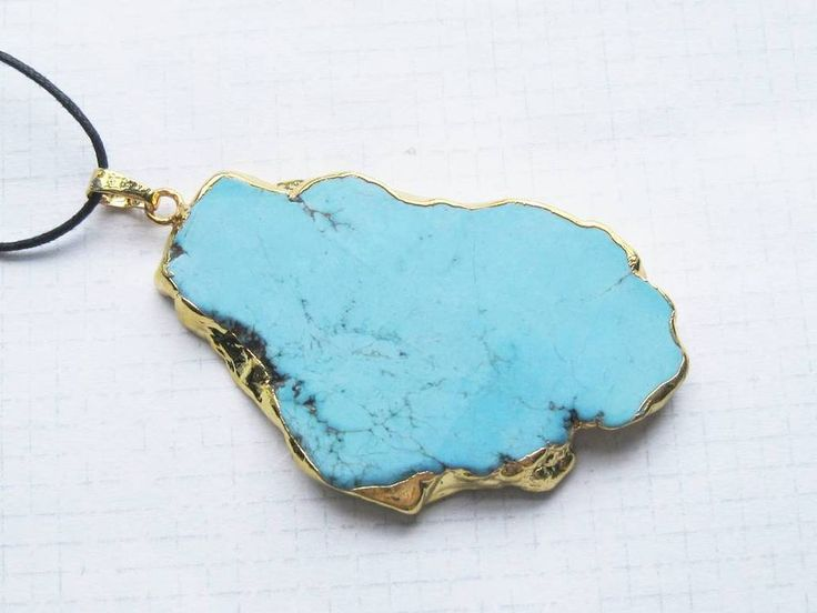 Large Turquoise Stone Gold Plated Druzy style Necklace