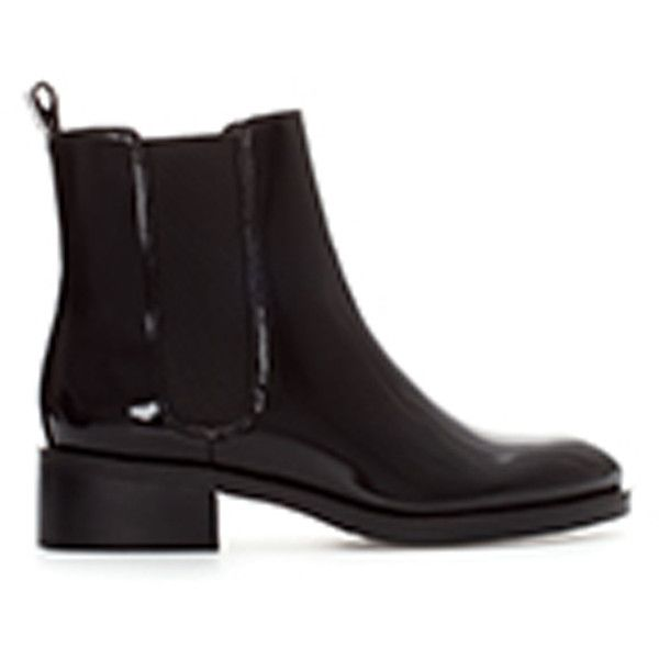 Zara Flat Chelsea Boot (£25) ❤ liked on Polyvore featuring shoes, boots, zara, black, botas, chelsea ankle boots, beatle boots, zara shoes, polyurethane shoes and flat boots