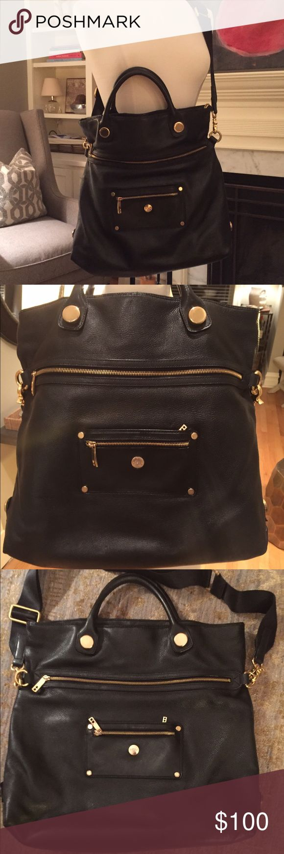 Knomo London Laptop/Work Bag Sophisticated, spacious,and smart work bag.  Black pebble leather with gold hardware and good pockets to keep you organized!  Can be crossbody (removable strap) or handle. knomo Bags Laptop Bags
