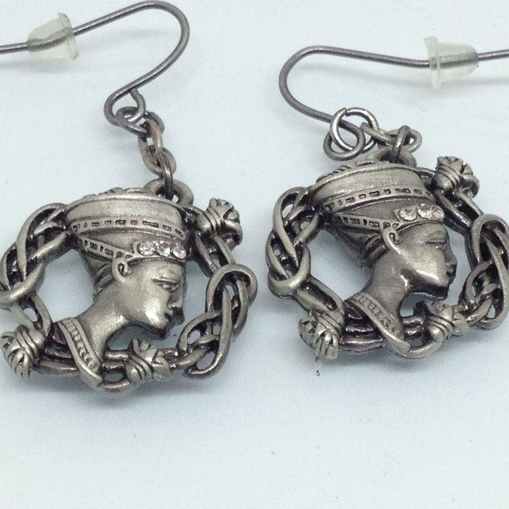 Mystica Collection EGYPTIAN NEFERTITI BUST EARRINGS Rhinestone Silver Tone  #ebay #egyptianjewelry #nefertiti #jewelry