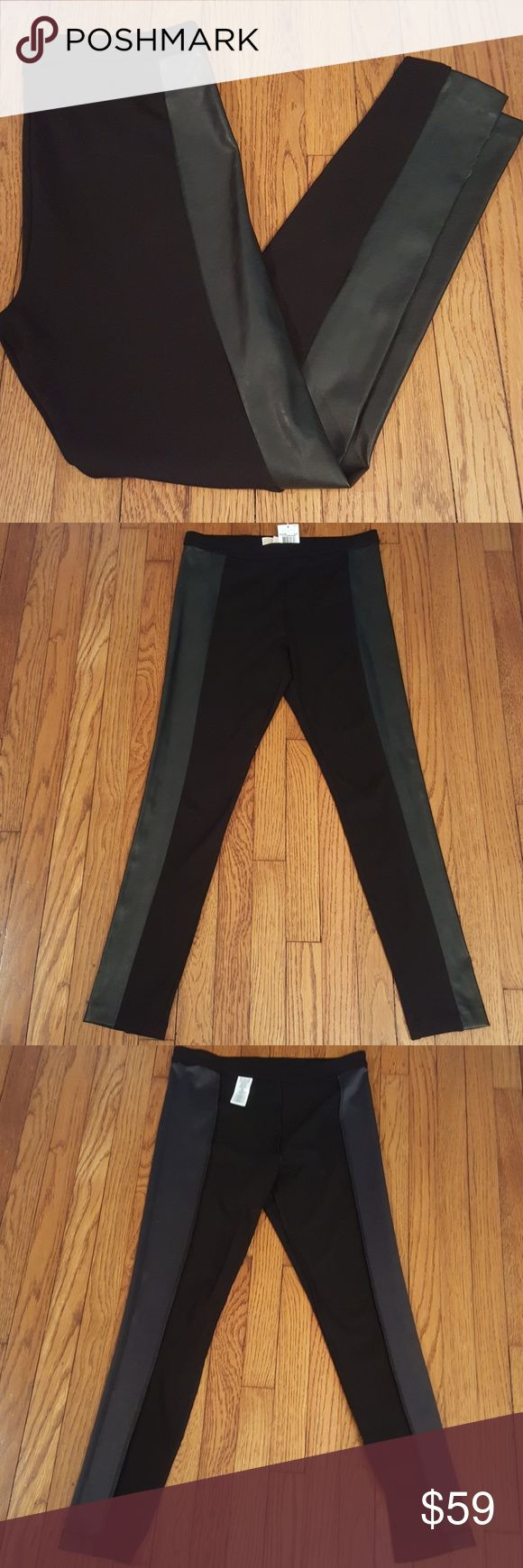 "New Michaal Kors Faux Leather Panel Leggings Super cute with 30"" inseam. MICHAEL Michael Kors Pants Leggings"