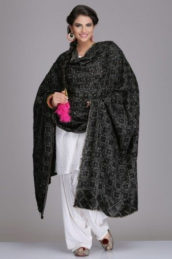 Black Magic Cotton Bagh Dupatta Phulkari Embroidery