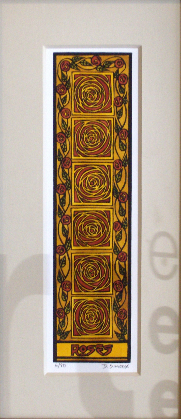 Arts and crafts prints - Vertical Roses Print In The Arts And Crafts Era Style Linoleum Block Print Print