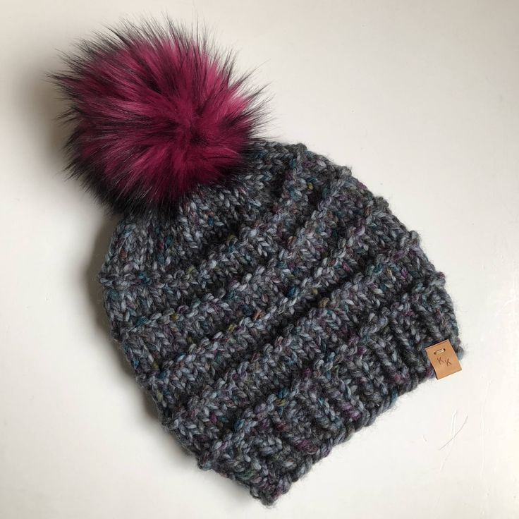 Hand Knit Kaister Beanie Super Colorful Abalone Wool Blend Bulky Yarn Fuchsia Faux Fur Pom Pom Winter Snow Cold Ski Snowboard Hat by kitchenklutter on Etsy