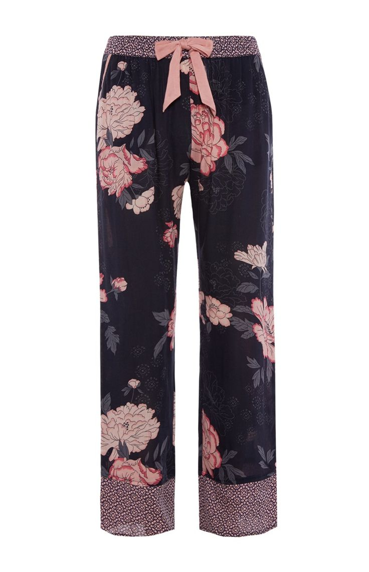 Navy Oversized Floral Trousers