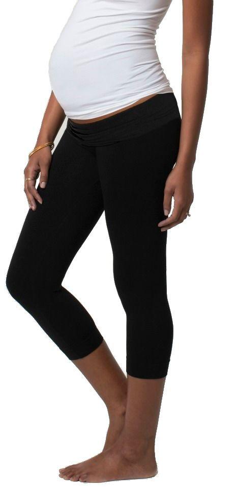 Ingrid & Isabel Capri Maternity Belly Leggings Black| Designer Maternity Clothes  Available at Due Maternity www.duematernity.com