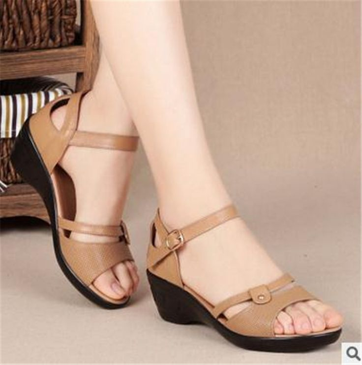 2017 summer new leather women sandals slope with large size shoes casual middle cow with middle-aged mother sandals women shoes