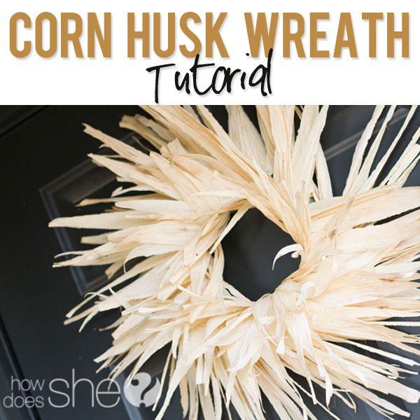 Corn Husk Wreath Tutorial #howdoesshe #crafting #halloween howdoesshe.com