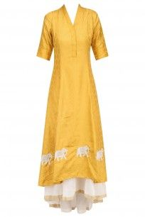 Yellow Elephants Motifs Double Layer Flared Dress with White Pants #myoho #newcollection #shopnow #ppus #happyshopping