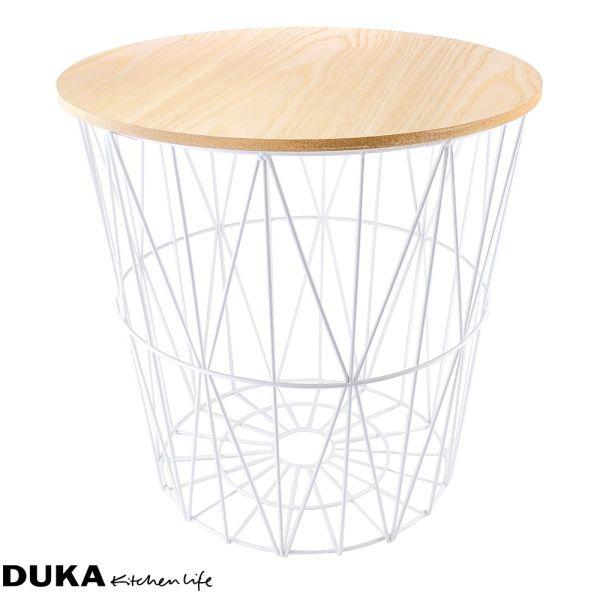 Stolik kawowy ze schowkiem 44x42 cm biały-dukapolska.com-31
