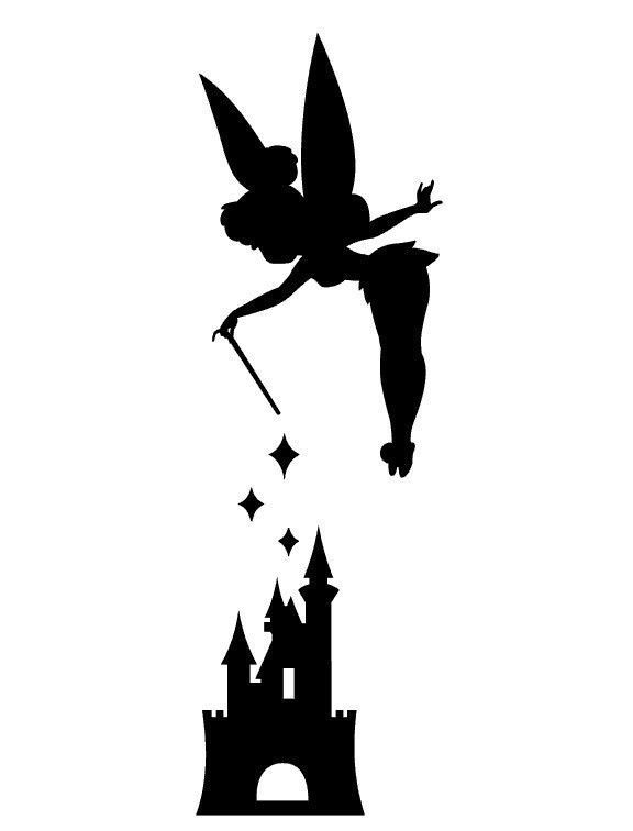 Tinker Bell with Disneyland castle vinyl decal by ImakeNeatStuff #Pumpkin Carving #Disney