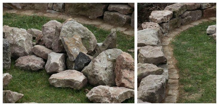 Sandsteine für die Beetumrandung und Natursteinmauer