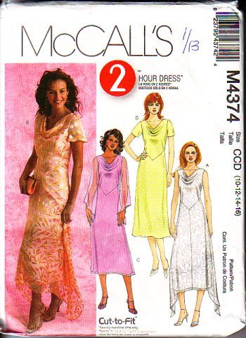 Mccalls M4374, not cut, factory folds, 2 hour dress, for sizes 10 to 16