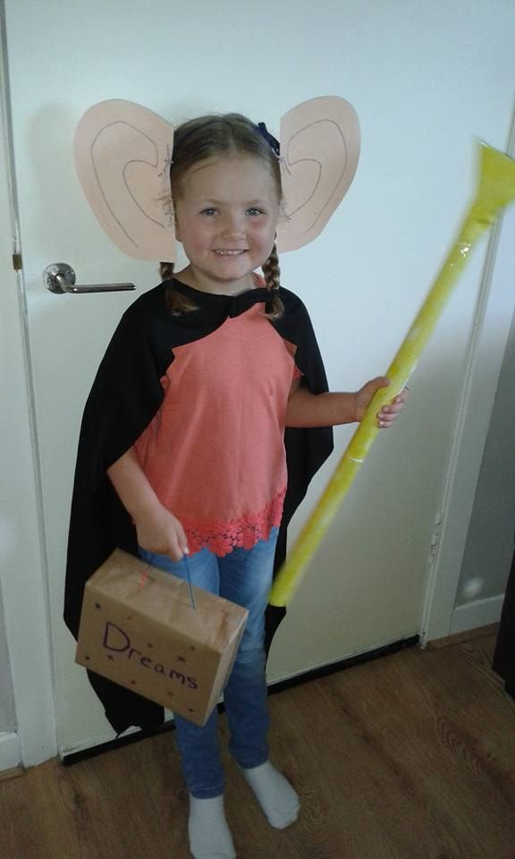 BFG Ears- painted card tied onto a hairband. Cape- from a previous Halloween. Suitcase- a shoe box covered with brown paper, string handle and decorated.  Trumpet- wrapping paper tube with funnel made from card.