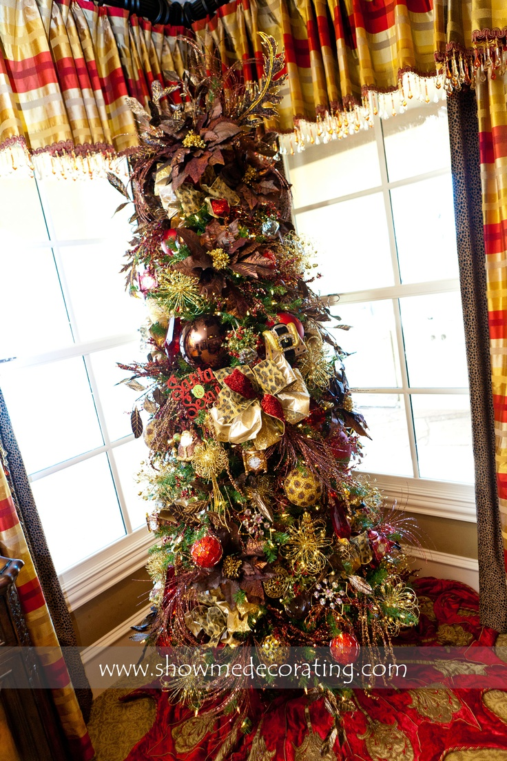 Christmas Tree With Rich Chocolate Browns, Animal Prints And Pops Of Red  Showmedecorating
