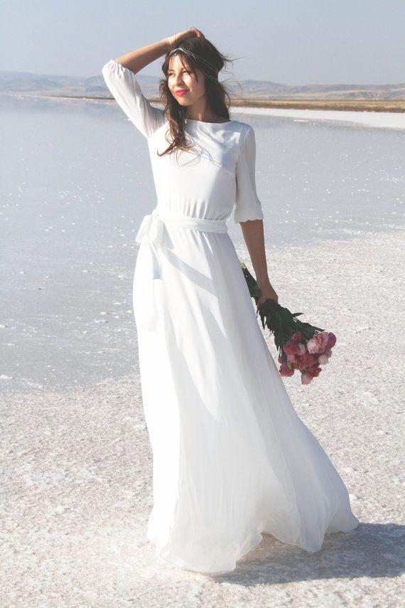 White maxi crepe chiffon dress with scoop back by NelliUzun