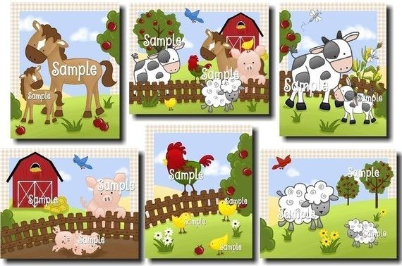 Set of 6 Farm Animal Baby Nursery Childrens Bedroom by ToadAndLily, $30.00