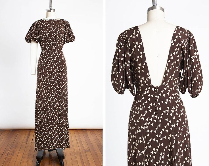 STUNNING Vintage 1930s ART DECO Bias Cut Silk Evening Gown with Plunging Back and Puff Sleeves // Old Hollywood // Jean Harlow // Glam by BygonesVintageRVA on Etsy https://www.etsy.com/ca/listing/534834450/stunning-vintage-1930s-art-deco-bias-cut