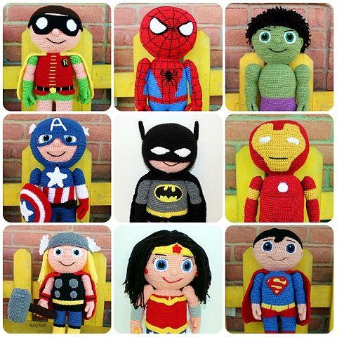 Schemi supereroi amigurumi (Superman, Batman, Capitan America...)