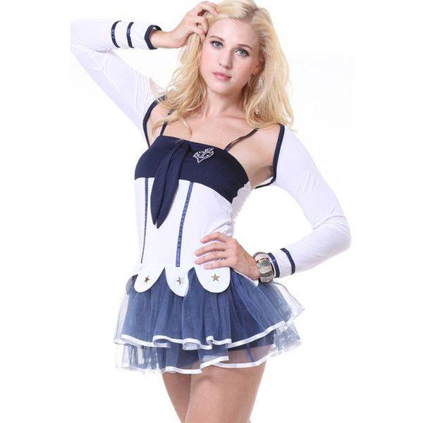 White Sexy Sailor Costume ($28) ❤ liked on Polyvore featuring costumes, white, sexy sailor costume, white two piece, white costumes, sailor halloween costume and white halloween costumes