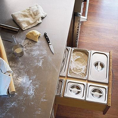Top-Drawer Idea: Rather than have a lot of canisters taking up valuable counter space, create drawers precisely measured to fit commercial stainless steel containers (available from restaurant supply stores) for your many flours, rices, grains, and other dry goods. | CookingLight.comDry Good, Tops Drawers, Tops Drawing Ideas, Kitchens Ideas, Cooking Lights, Kitchens Drawers, Storage Ideas, Kitchens Storage, Stainless Steel