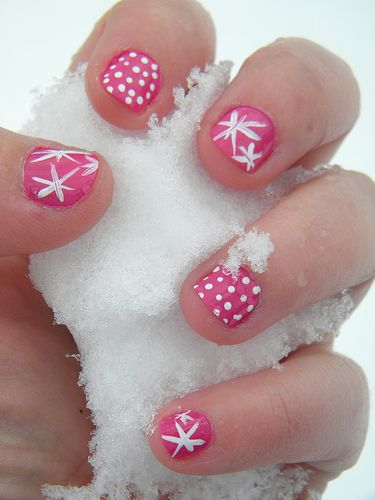Pink winter nails would be so easy to do