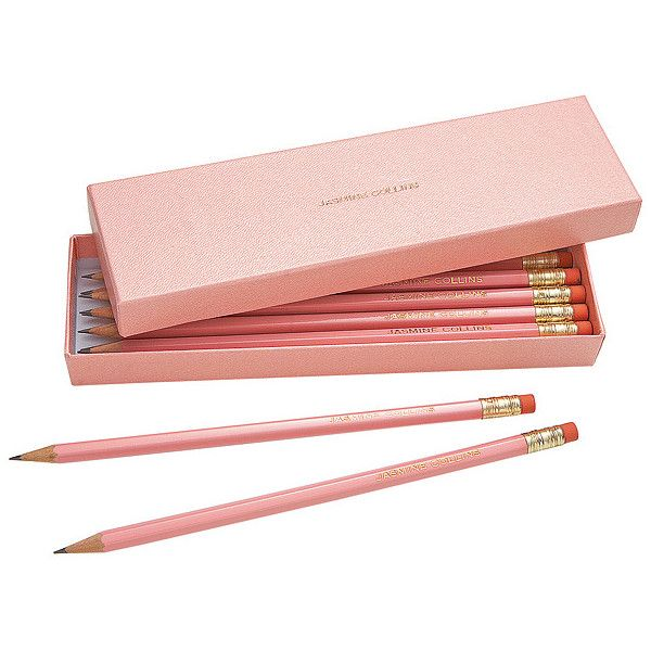 {office, desk, work} ❤ liked on Polyvore featuring home, home decor, office accessories, fillers, school, stationary, items and personalized pencils