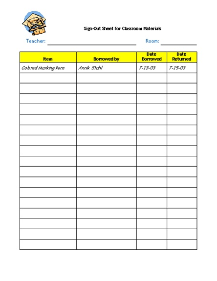 27 best sign out sheets images on Pinterest