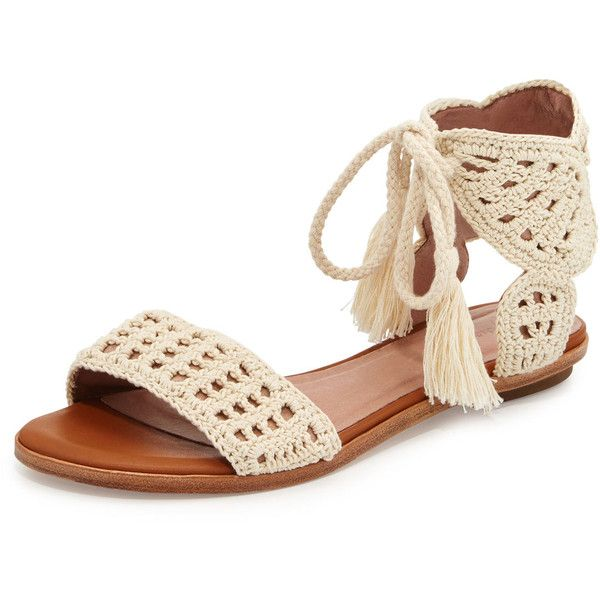Joie Jolee Crochet Flat Sandal ($255) ❤ liked on Polyvore featuring shoes, sandals, natural, open toe sandals, stacked heel sandals, ankle strap sandals, joie shoes and flat sandals