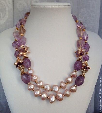 Coliere, margele lucrate manual.  Masters Corecte - manual.  Cumpăra Coliere cu perle baroc și ametist baroce.  Handmade.  Cravată