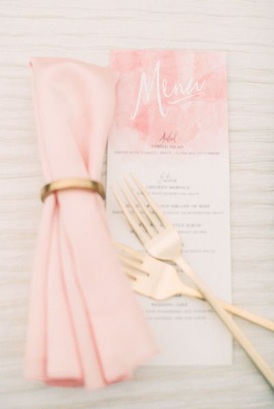 Blush table decor: http://www.stylemepretty.com/2014/09/05/watercolor-wedding-inspiration-shoot/ | Photography: Ruth Eileen - http://rutheileenphotography.com/